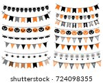 vector set with halloween... | Shutterstock .eps vector #724098355