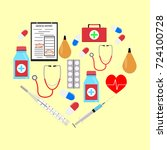 heart form with medicine icons. ... | Shutterstock . vector #724100728
