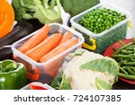 trays box with vegetables for... | Shutterstock . vector #724107385