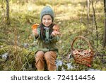 children walking in the forest... | Shutterstock . vector #724114456