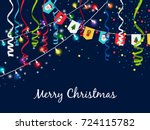 christmas garland with... | Shutterstock .eps vector #724115782