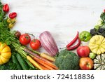 above view of fresh raw... | Shutterstock . vector #724118836
