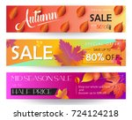 thanksgiving sale banners set.... | Shutterstock .eps vector #724124218