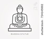 line icon buddha statue | Shutterstock .eps vector #724145002