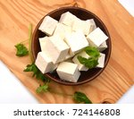 closeup tofu isolated on wooden ... | Shutterstock . vector #724146808
