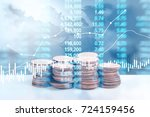 graph coins stock finance and... | Shutterstock . vector #724159456