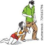 wife begging husband concept... | Shutterstock .eps vector #724161796