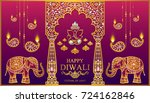 happy diwali festival card with ... | Shutterstock .eps vector #724162846