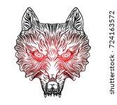 angry wolf head. wolf blackwork ...   Shutterstock .eps vector #724163572