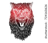 ferocious wolf head. angry...   Shutterstock .eps vector #724163626