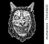 wolf blackwork tattoo flash...   Shutterstock .eps vector #724163632