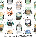 cute seamless pattern with owls ...