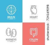 set of brain and heart  kidney  ...   Shutterstock .eps vector #724169098