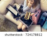 too much shopping young woman... | Shutterstock . vector #724178812