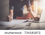 architect man holding pencil... | Shutterstock . vector #724181872