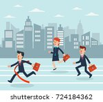 business people running to... | Shutterstock .eps vector #724184362