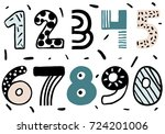 set of doodle numbers. funny... | Shutterstock .eps vector #724201006