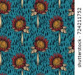 seamless pattern with protea... | Shutterstock .eps vector #724211752