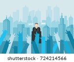 person making speech. orator... | Shutterstock .eps vector #724214566