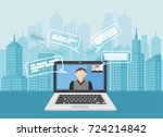 video call communication.... | Shutterstock .eps vector #724214842