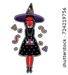 set of beautiful cartoon witch... | Shutterstock .eps vector #724219756