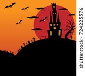 halloween castle scenery which... | Shutterstock . vector #724225576