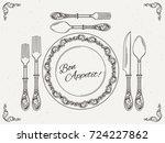 banquet tableware. vintage dish ... | Shutterstock .eps vector #724227862