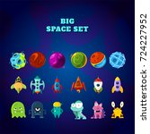 big space set. set of space... | Shutterstock .eps vector #724227952