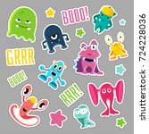 set of cute monsters and... | Shutterstock .eps vector #724228036