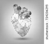 polygonal human heart  structure | Shutterstock .eps vector #724236295