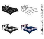 men's bed with a blue bed and...   Shutterstock .eps vector #724241182
