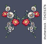 embroidery flowers patch... | Shutterstock .eps vector #724251376