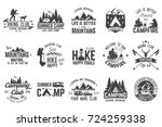 summer camp and hiking club... | Shutterstock . vector #724259338