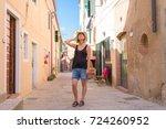 italian summer holidays  woman... | Shutterstock . vector #724260952