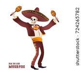 dia de muertos. mariachi... | Shutterstock .eps vector #724265782