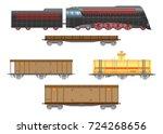 flat  retro railway locomotive... | Shutterstock . vector #724268656
