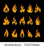vector fire icons. set of... | Shutterstock .eps vector #724270666