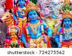 indian hindu god lord krishna... | Shutterstock . vector #724275562