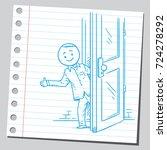 casual man behind the door | Shutterstock .eps vector #724278292
