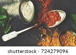 Closeup Of Asian Spice Powders...