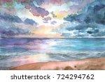 hand drawn watercolor...   Shutterstock . vector #724294762