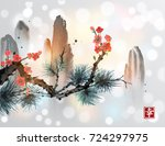 mountains  pine tree branch and ... | Shutterstock .eps vector #724297975
