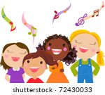 kids singing   vector | Shutterstock .eps vector #72430033