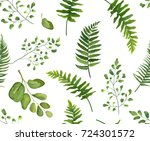 seamless greenery green leaves... | Shutterstock .eps vector #724301572