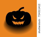 a black pumpkin head on the... | Shutterstock . vector #724311412
