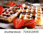 belgian waffles with...   Shutterstock . vector #724313455