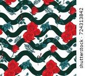 rose seamless pattern  vector... | Shutterstock .eps vector #724313842