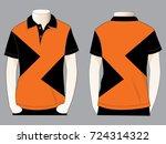 polo shirt design  orange black