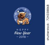 english bulldog congratulates... | Shutterstock .eps vector #724338868