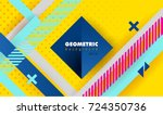 Hipster modern geometric abstract background. Bright yellow banner with blue stripes stripes, textured background. Business template for a bright color. Realistic stripes background. | Shutterstock vector #724350736